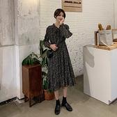 秋季2020年新款系帶收腰顯瘦氣質碎花長袖洋裝女法式中長款裙子 【年貨大集Sale】