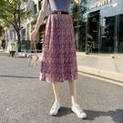 長裙~半身裙~高腰碎花半身裙女士a字雪纺显瘦印花中长裙子T255A日韓屋