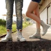 馬丁靴子男女士帆布高筒鞋情侶英倫高邦工裝男鞋夏季透氣百搭短靴 居享優品