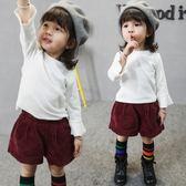 女童t恤秋款寶寶兒童春秋新款3周歲嬰幼兒小女孩純白喇叭袖打底衫 CY潮流站