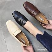 新款復古英倫風方頭低跟平底小皮鞋女踩跟深口單鞋 凱斯盾