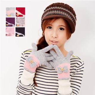 【MIT台灣製】台灣製 雙層內裡+羽毛紗針織手套 - 蝴蝶結款 (五色)