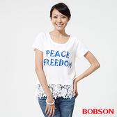 BOBSON 女款印圖搭配蕾絲上衣 (25088-81)