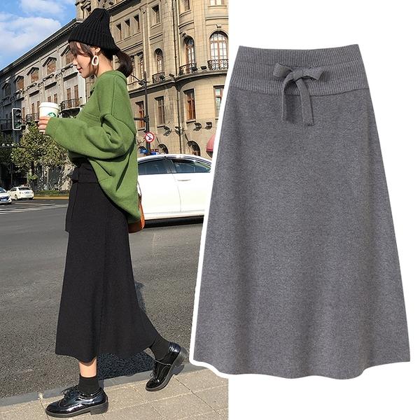 孕婦半身裙子女秋冬款免運新款針織中長款黑灰色 A字包臀打底裙潮