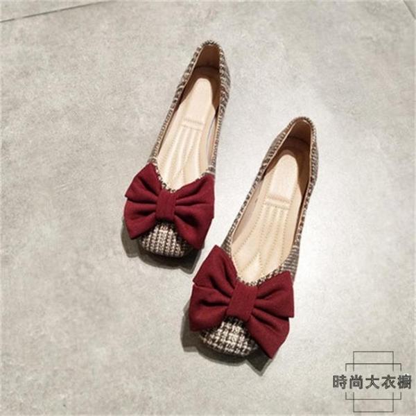豆豆鞋方頭淺口平底鞋單鞋女大蝴蝶結奶奶鞋軟底鞋【時尚大衣櫥】