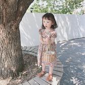女童復古燈籠袖洋裝小女孩文藝碎花公主裙寶寶洋氣民族風短袖裙 滿天星