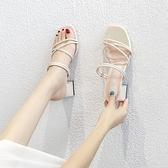 夏天涼鞋女2021年新款小碼時裝夏季綁帶溫柔中跟粗跟兩穿高跟鞋子 【端午節特惠】