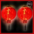 摩達客▶農曆春節元宵◉16吋植絨魚福紅燈籠(一組兩入)+LED50燈插電式燈串暖白光(附IC控制器)