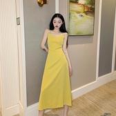 無袖洋裝 夏季新款2021韓版很仙的珍珠洋裝復古顯瘦中長款V領吊帶 【快速出貨】