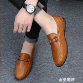 豆豆鞋春季豆豆鞋男男鞋男士休閒皮鞋男懶人鞋一腳蹬韓版套腳鞋子男 金曼麗莎