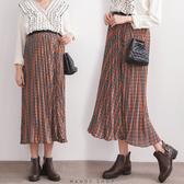 【MN0231】鬆緊腰配色幾何格紋百褶雪紡長裙