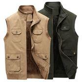 男士背心外套 秋冬季爸爸裝馬甲男士外套中老年純棉加絨加厚背心工裝