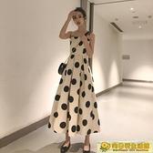 無袖洋裝 很仙的法式高腰智熏裙夏款洋裝新款氣質無袖大波點吊帶裙女 向日葵