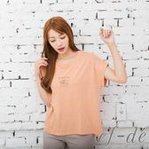 【ef-de】激安 來電達令雜訊風短袖上衣T-shirt(藍灰/粉橘/淺卡)