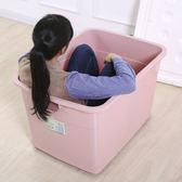 八折虧本促銷沖銷量-特大號收納箱棉被衣物整理箱加厚塑膠有蓋衣服收納盒有蓋儲物筐子jy 免運費