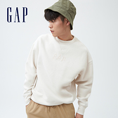 Gap男女同款 Logo刺繡刷毛圓領休閒上衣 735867-灰白色