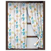 花意印花三明治遮光窗簾寬290x高240cm藍