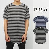 【GT】FairPlay Packer 黑 藍 短袖T恤 休閒 條紋 輕薄 透氣 長版 短T 條紋T 圓弧下擺 前短後長
