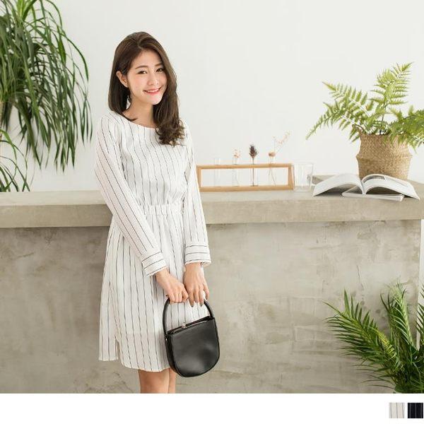 《DA5047-》黑白相間直條紋腰圍鬆緊長版洋裝 OB嚴選