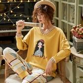 睡衣睡衣女春秋季長袖純棉家居服秋冬可外穿韓版清新甜美學生兩件套裝 韓國時尚週