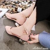 夏季新款韓版包頭中跟涼鞋女鞋學生羅馬一字扣帶粗跟百搭單鞋   蜜拉貝爾