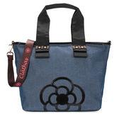 CLATHAS 山茶花裝飾丹寧織布兩用托特包(藍色)201050-84