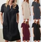 棉麻洋裝 襯衫連身裙S-5XL棉麻寬松短袖中長款連身裙女TBF2-11A.1031 1號公館