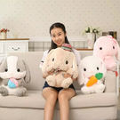交換禮物-毛絨公仔-可愛長耳兔毛絨玩具兔寶寶公仔小白兔子玩偶抱枕布娃娃生日禮物女T1