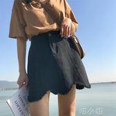 短裙裙子春夏新款韓版chic波浪牛仔裙短裙百搭鬆緊腰A字裙半身裙 喵小姐