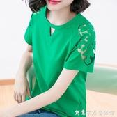 短袖t恤女2020夏裝新款寬鬆大碼胖mm小衫純棉中年媽媽洋氣上衣 中秋節全館免運