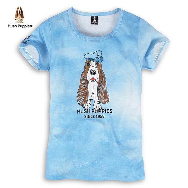 Hush Puppies T恤 女裝渲染印花布紋塗鴉水手狗T恤
