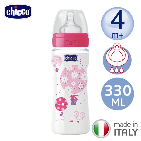 chicco-舒適哺乳-甜美女孩矽膠PP特大奶瓶330ML-三孔4m+