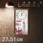 【Lawrence羅蘭絲】倫敦漫遊木框(玻璃面板)復古時鐘(27x51cm) 鄉村歐美 壁掛掛鐘 居家佈置 裝飾畫