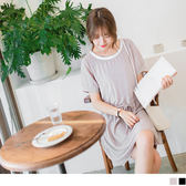 OrangeBear《DA4593》抽腰綁帶局部透膚配色圓領純色雪紡洋裝.2色--適 XL~5L