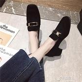 鞋子女潮鞋秋冬季新款英倫風復古中粗跟方頭樂福鞋休閒小皮鞋【618特惠】