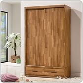 【水晶晶家具/傢俱首選】ZX1124-4巴菲特4x6.5尺淺胡桃木心板推門衣櫃