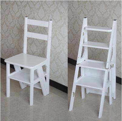 實木家用多功能折疊梯架創意樓梯椅梯凳室內多用單只價【加強款四層《楠竹板》白色】