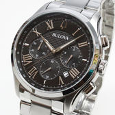 [萬年鐘錶]  BULOVA寶路華  防水 三眼 計時碼錶  黑錶面  銀鋼帶 男錶  羅馬字體時標 46mm 96B288