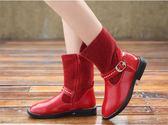 女童中童鞋   女童中筒鞋加絨韓版長筒靴兒童靴子高筒時裝靴公主靴  瑪麗蘇