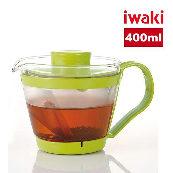 【iwaki】日本品牌耐熱玻璃微波茶壺-400ml(綠)