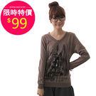 T恤【11826】FEELNET中大尺碼女裝秋裝新款印花打底衫40碼