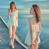 奶香 保守泳衣女ins網紅同款韓國小清新學生裙式白色仙顯瘦遮肚      芊惠衣屋