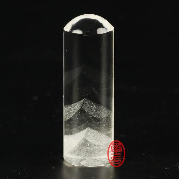 水晶印章-金字塔水晶印章圓形(開運印鑑)(印章材質) 手工刻印
