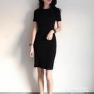 修身洋裝黑色連身裙收腰顯瘦緊身針織法式修身包臀夏季氣質裙子女中長款 萊俐亞