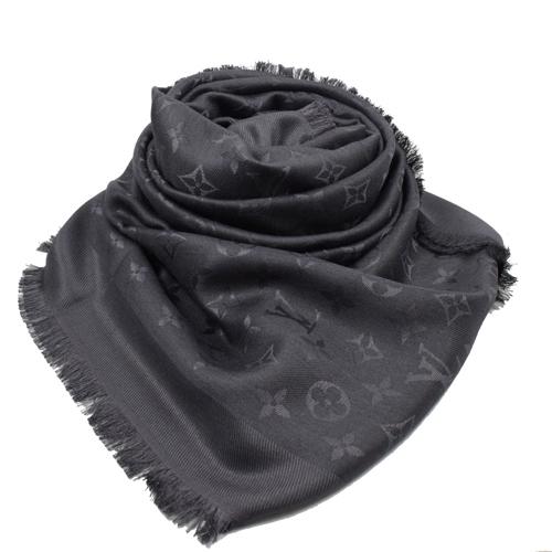 Louis Vuitton LV M74752 Monogram 經典花紋羊毛絲綢披肩圍巾.煤炭色 全新 預購【茱麗葉精品】