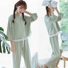 週年慶優惠-浴衣睡衣女長袖棉甜美可愛韓版寬鬆薄款春秋季正韓全棉休閒家居服套裝