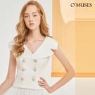 OMUSES V領排釦白色上衣襯衫