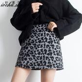 超火毛呢豹紋半身裙女2019新款秋冬高腰a字冬季包臀短裙子外穿