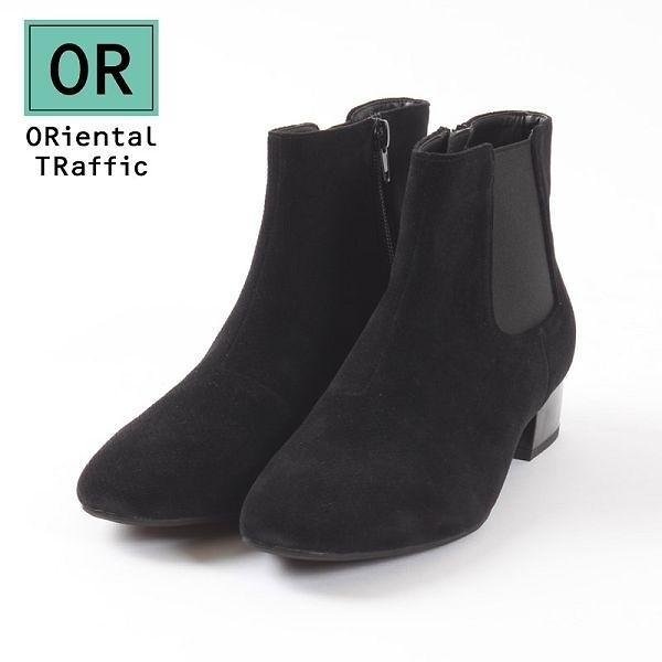 【ORiental TRaffic】質感側鬆緊帶方頭短靴-質感黑