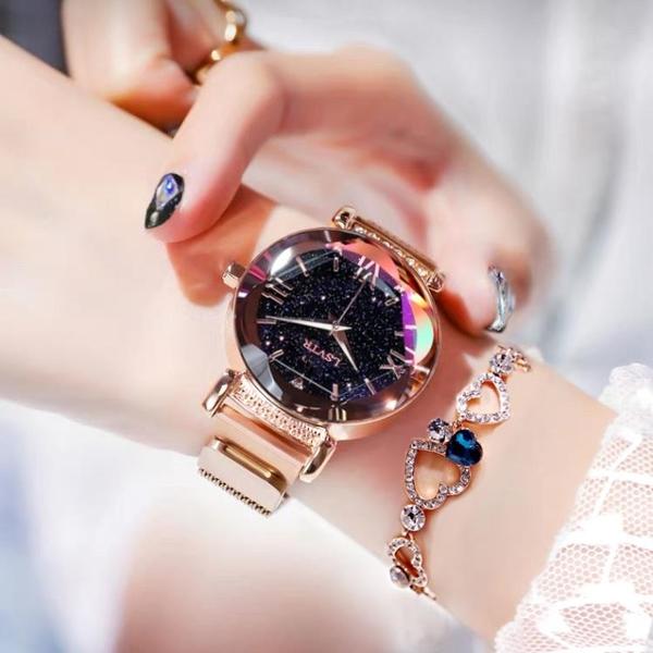 新款網紅星空吸磁鐵手錶女士抖音同款時尚潮流學生女防水 - 風尚3C